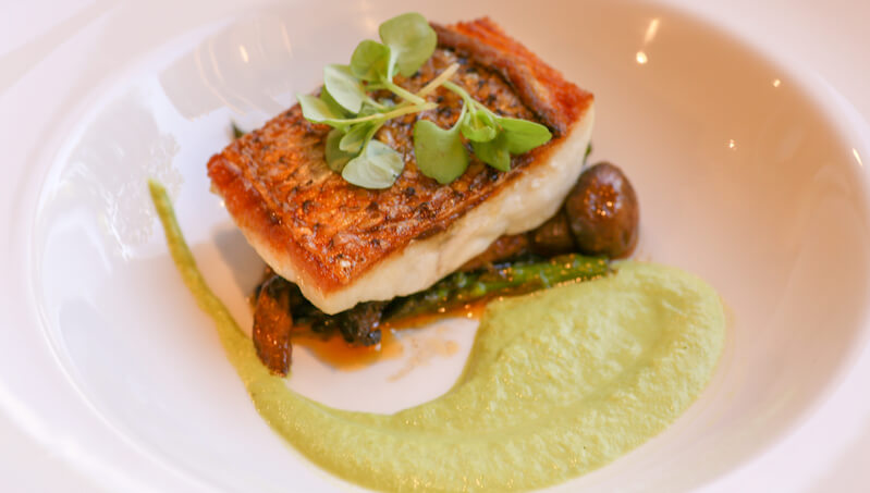 Wild Striped Bass with fava beans, smoked mushrooms, roasted asparagus puree
